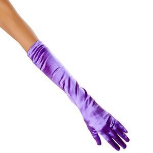 Purple Stretch Satin Gloves Mid Arm Elbow Length